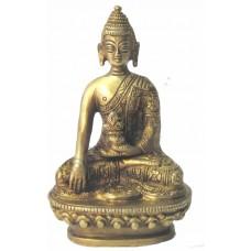 Nepali Hand Made Brass Metal Buddha Statue in a Bhumisparsha Mudra