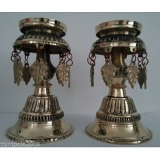 Nepalese Traditional Brass Oil Lamp Candle Holders Set of 2